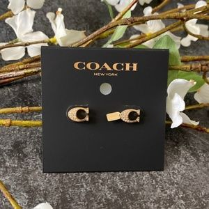 COACH NWT Gold Signature Stud Earrings